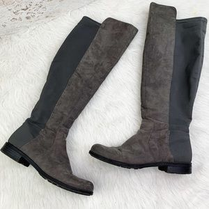 0aad634bc33 Liz Claiborne faux suede gray over the knee boots